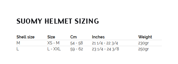 Suomy Size Chart