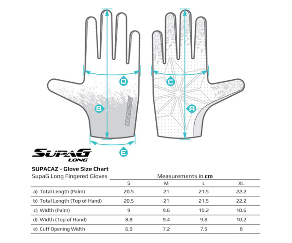 SupaG Long Size Chart
